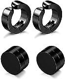 Fida Arts 8mm Magnetic Non Piercing Earrings 1pair Man Punk Style Round Black
