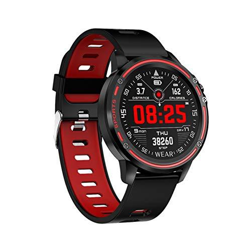 YDL Smart Watch Men IP68 Reloj Impermeable Reloj Modo SmartWatch con ECG PPG Presión Arterial Ritmo Cardíaco Fitness Fitness (Color : Red)