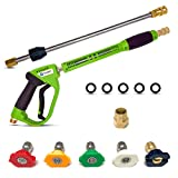 New Improved Look - High Pressure Washer Gun and Lance Wand Attachment - Replacement Kit - 5000 PSI with 5 Power Wash Water and Soap Spray Jet Nozzle Tips - Quick Connect Fitting - Clean Car Wood Plus
