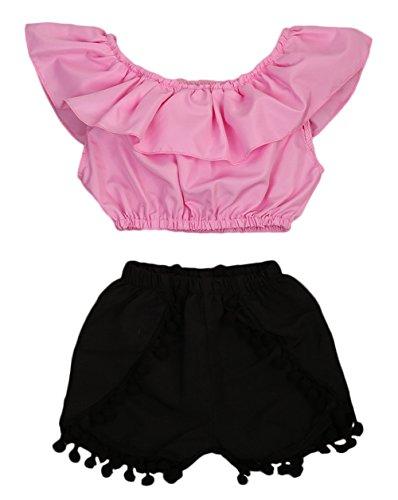 Imcute Cute Baby Girls Short Sleeve Blouse Tube Top+High Waist Pom Pom Short Pants