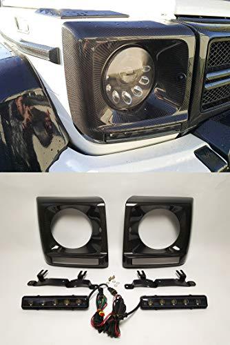 kit-car G Wagon Brabus Style - W463 Carbon Fiber Headlights Cover Trim + LED for G Class Mercedes Benz G500 G55 G63 AMG G65 AMG Vehicles