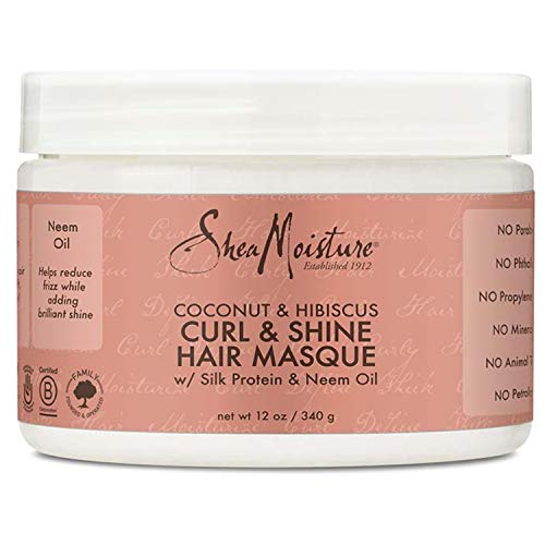 SheaMoisture Hair Masque for Dry Curls Coconut & Hibiscus with Shea Butter, 12 oz