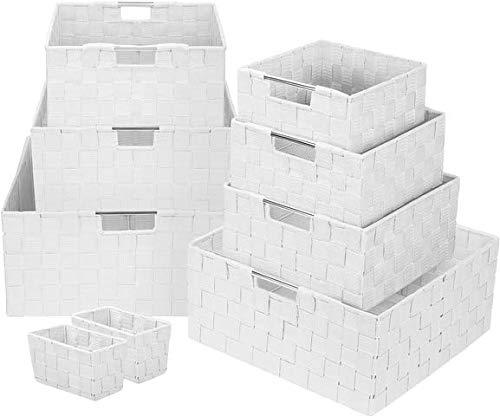 Sorbus Storage Box Woven Basket Bin Container Tote Cube Organizer Set Stackable Storage Basket Woven Strap Shelf Organizer Built-in Carry Handles White