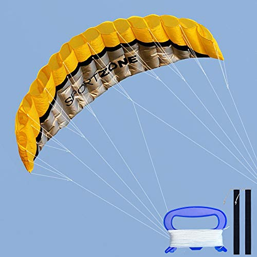 Kwasyo 2.5m Outdoor Parafoil Kite - Dual Line Stunt Parachute Beach Kite with Handle 30m Line (Yellow