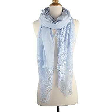 Achillea Large Soft Feminine Floral Lace Scarf Shawl Wrap Spring Summer Evening Coverup (Light Blue)