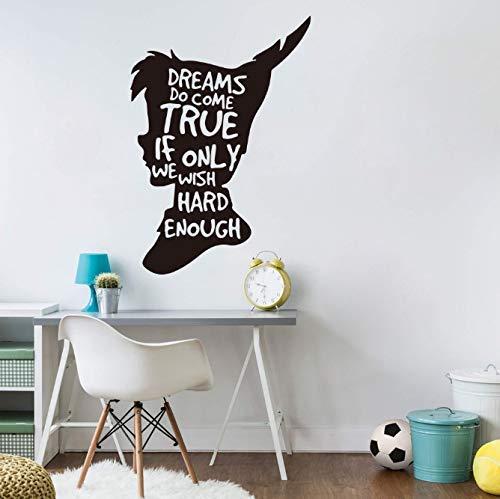 Peter Pan Traum citaat wandtattoo kinderkamer kinderkamer Tinkerbell Peter Pan inspirerende citaat wandsticker speelkamer vinyl decor 56Cmhighx39Cmwide