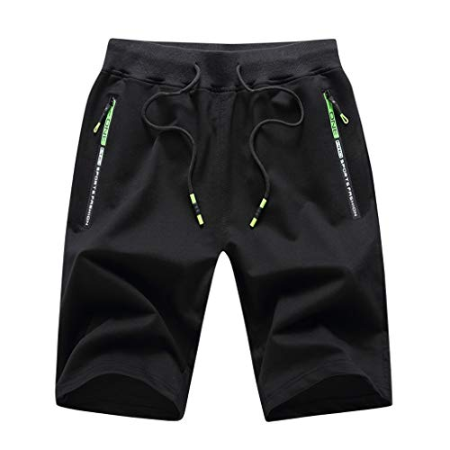 Fantastic Deal! Wadonerful-men Shorts Comfy Breathable Sports Shorts Striped Drawstring Zipper Pocke...