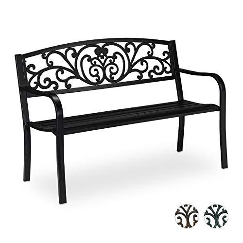Relaxdays Gartenbank Antik für 2 Personen, Balkon, Terrasse, Premium Rostschutz, Metallbank 81x127x56 cm, schwarz