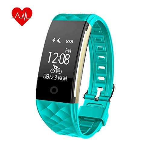 Heart Rate Activity Fitness Tracker - S2 Wireless Bluetooth IP67 Waterproof Sports Wristband Pedometer Sleep Monitor/ Call Reminder/ Calorie Counter/ Remote Camera for Android IOS Smartphone(Green)