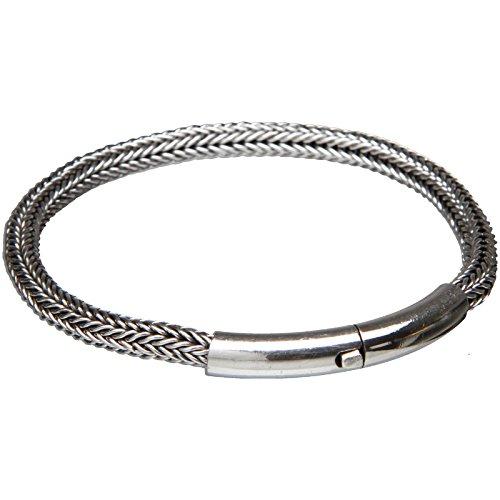 B2L Buddha to Light handmade Sterlingsilber Biker Armband Wire Tube, Länge:XL 21.59cm
