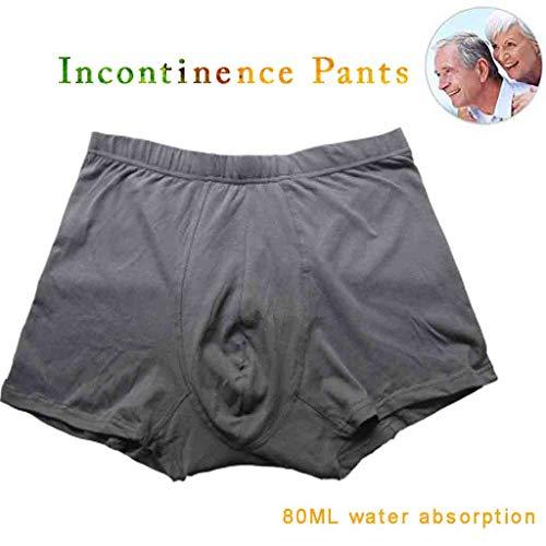 Waschbare Harninkontinenz Cotton Adult Windelhosen Windel -Boxer Hosen für Männer & Frauen Erwachsene Anti-Leak-Tuch-Windel-Abdeckung,Grau,XL