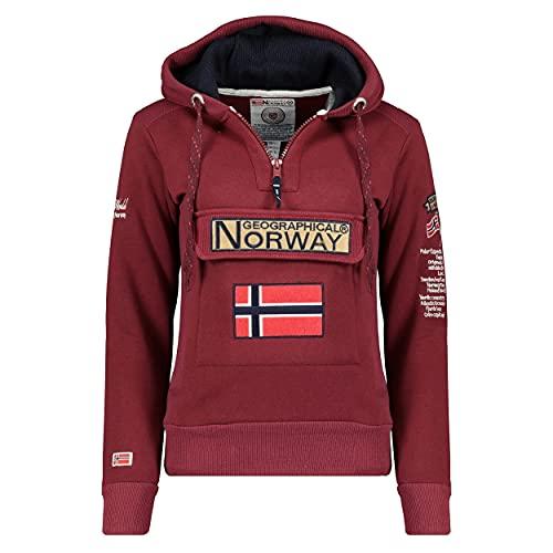 Geographical Norway GYMCLASS Lady - Sudadera Mujer Bolsillos Kangaroo - Sudadera Caliente Mujer - Suéter Abrigos Manga Larga - Hoodie Tops Casual Abrigo Estilo BORGOÑA L - Talla 3