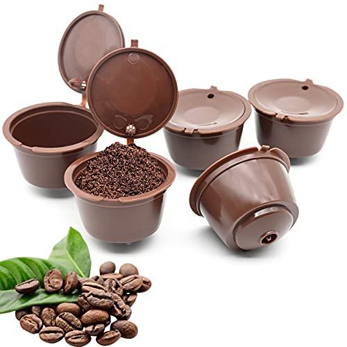 5 Stück Kaffee Kapseln Nachfüllbare Kapseln, Nachfüllbare Kaffeekapseln-Filtertasse Kapsel-Adapter, Kaffeekapseln für Dolce Gusto (Braun)