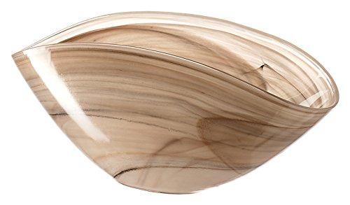 Leonardo Alabastro Glas-Schale, Design-Schale aus Glas, handgefertigte Deko-Schale in Beige, 120 x 280 x 140 mm (HxBxT), 031216