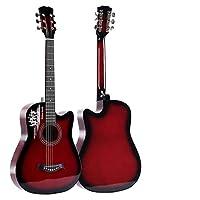 38インチのバスウッドフォークギターの学生の初心者は開始練習ピアノギターアコースティックギター楽器の取得します (Color : Red)