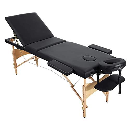 Massageliege Klappbar Kosmetikliege Massagetisch Behandlungsliege mit 3 Zonen Ergonomischer Holzfüße mit Gesichtsloch