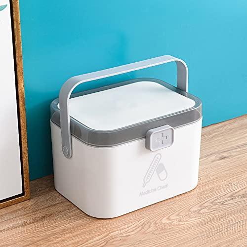 papasgix Caja de almacenamiento portátil para guardar botiquín en casa, caja de almacenamiento grande (blanco)