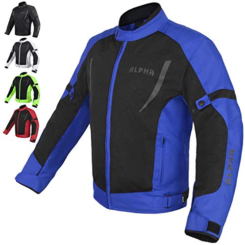 HI VIS MESH MOTORCYCLE JACKET FOR MENS RIDING BIKERS RACING DUAL SPORTS BIKE ARMORED PROTECTIVE (BLUE, X-LARGE)