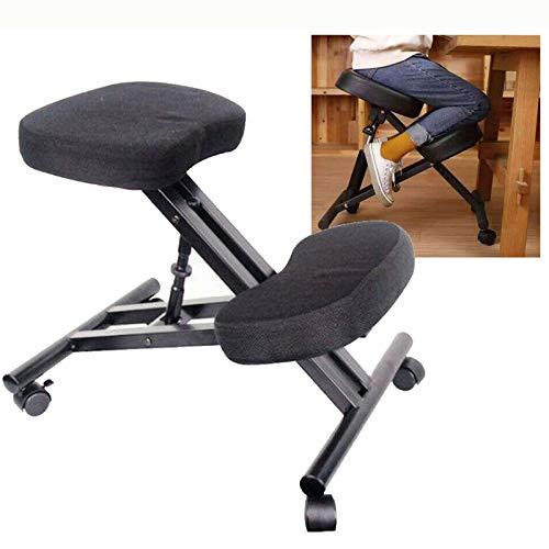 Ergonomischer Kniestuhl, Haltungskorrekturstuhl, abgewinkelter Kniestuhl, verstellbarer Hocker mit geformtem Schaumstoffkissen und Rollen für Zuhause und Büro