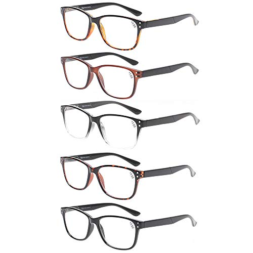 Reading Glasses 5-Pack Quality Readers Spring Hinge Prime Black Designer Trendy for Men and Women