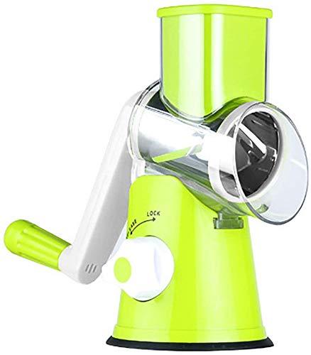 LLQ Trancheuse Rapide Légumes Manuelle, Multifonction Râpe Coupe-Légume Trancheuse avec 3 Rotary Lames en INOX, Vert