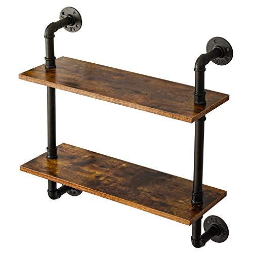 IBUYKE Wandregal Schweberegal Standregal Leiterregal Wandregal mit 2 Ebenen aus Metall Holz Vintage Industrial für Schlafzimmer, Wohnzimmer, Küche und Flur 60x20x66 cm RF-TM004