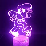 3D Lamp Cartoon Game Mario Stepped on The Brick color changeful Bright Base Best Gift Children Led...
