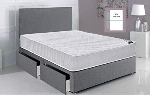 Gray Fabric Single Divan Bed with Free Headboard 90cm x 190cm(3FT with 2 Storage Drawers (Same Side))