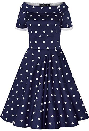 Dolly and Dotty Damen Kleid Darlene Polka Dot Carmen Dress (XS, Navyblau mit weißen Dots)