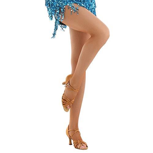 IEFIEL Medias de Rejilla Profesionales Punta Abierta Mujer Medias de Danza Latina Baile Latino Salón sin Costuras Cintura Alta Hilo Duro Caramelo One Size