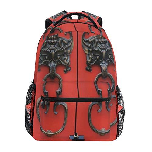 KASMILN Schultaschen,Rustikale Fledermaus Türklopfer auf Vintage Eingang Design antike kulturelle Kunstwerk,Rucksäcke für Männer und Frauen