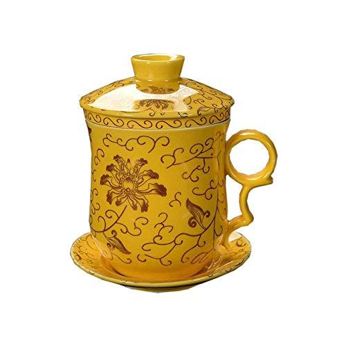 ufengke-ts 4 Pezzi DeHua Tazza di tè Ceramica con Filtro, piattino, e Coperchio Giallo e Modello di crisantemo