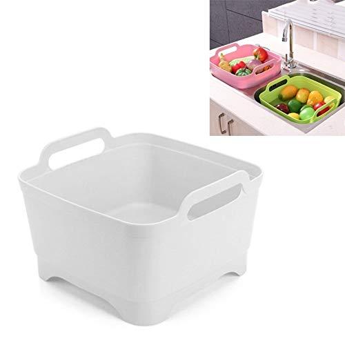 Desagüe de la cocina CCI 2 PCS móvil de múltiples funciones del fregadero de cocina de plástico vegetal cesto de lavado de frutas y verduras de almacenamiento Escurrir la cesta (rosa) escurridor