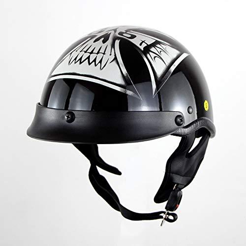 Herren/Jugend Open Face Motorradhelm, Motorrad Harley Half Helm Motorrad Cruiser Scooter Reisehelm Sommer Helm,L