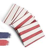 DIVORY Juego de 4 paños de cocina, 100 % algodón, 40 x 60 cm, diseño a rayas, color rojo y blanco, 40 x 60 cm