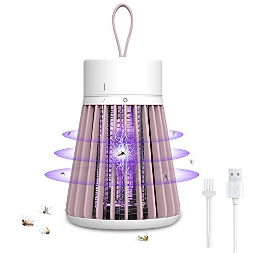 iPatio Lámpara Antimosquitos Eléctrico UV Antimosquitos Trampas UV Portátil Carga por USB Camping Repelente de Mosquitos Mata Mosquitos electrico UV lamparas atrapa Anti Mosquitos (El Rosa)