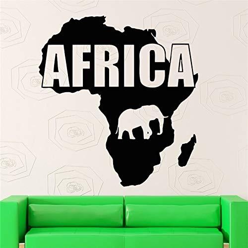 Geiqianjiumai Design Poster Afrika Karte Vinyl Wandkunst Applique Blume Wanddekoration 87X93CM