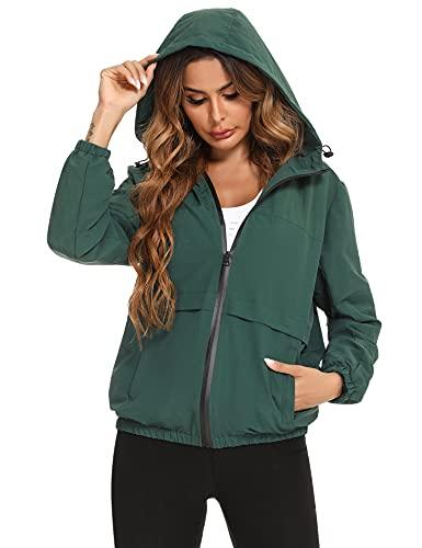 Aibrou Giacca antipioggia impermeabile da donna, giacca antipioggia da donna Giacca impermeabile da esterno Giacca a vento leggera a contrasto di colore con cappuccio