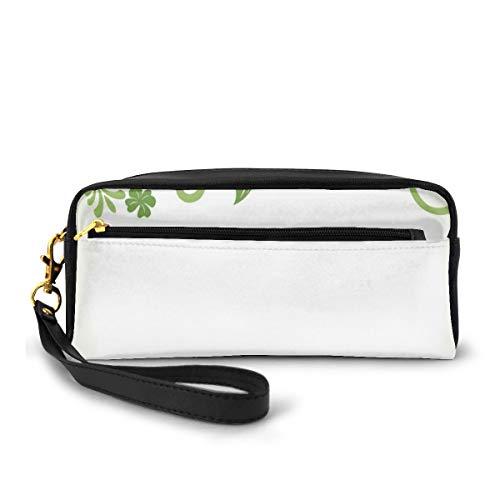 Pencil Case Pen Bag Pouch Stationary,Victorian Garden Theme Frame Abstract Curls Floral Vintage Design,Small Makeup Bag Coin Purse