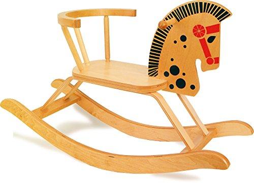 9402 Cavallino a dondolo small foot in legno, design nostalgico, con barra posteriore di sicurezza, a partire da 2 anni