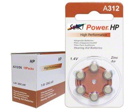StartPower - 60 Batterien für Hörgeräte - Typ A312-1.4V - 160mAh - PR41