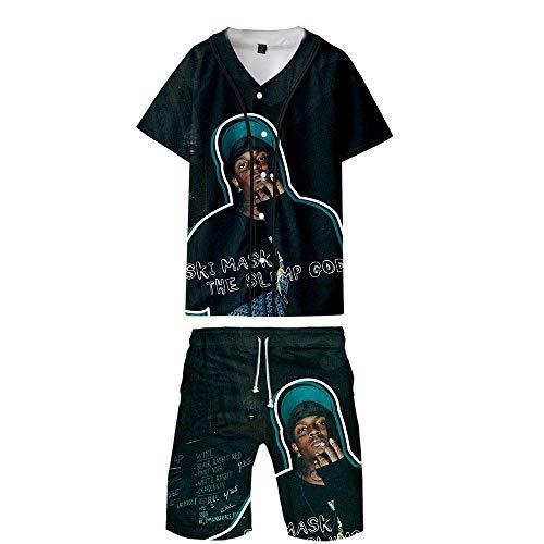 Cantante Máscara de esquí Colapso Dios Uniforme Impreso en 3D Uniforme de béisbol Pantalones Cortos de Manga Corta Camiseta Moda Casual Ropa Unisex para Adultos