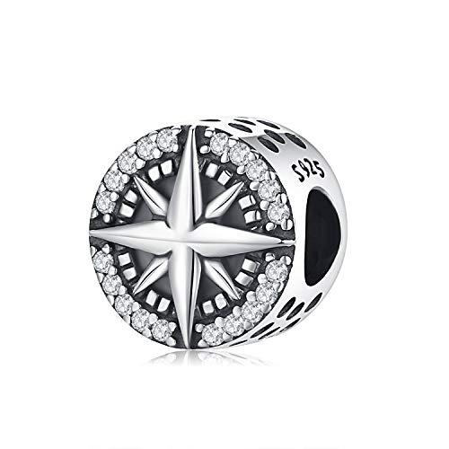 Eusense Abalorio Estrella 925 Plata Esterlina, Charm Buena Suerte para Pandora Chamilia Troll, Abalorios para Pulsera Collar Cadena