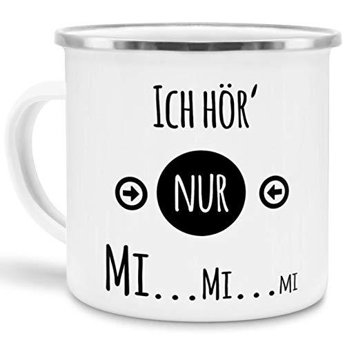 Tassendruck Emaille-Tasse mit Spruch Ich hör nur MiMiMi - Witzig/Edelstahl-Becher/Metall-Tasse/Lustig/Büro