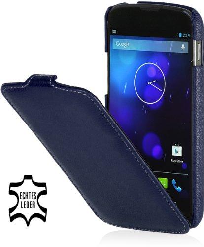 StilGut UltraSlim Hülle, Tasche aus echtem Leder für Google Nexus 4 / LG E960, Navyblau