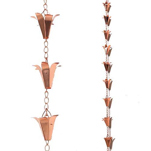 Topadorn Regenkette aus reinem Kupfer, Lilie, 8 1/2 Länge