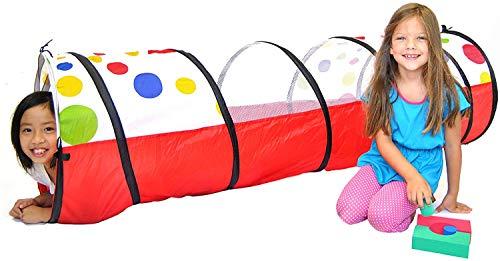 Veelkleurige speeltunnel voor kinderen (6 ') - Kruip en verken de tent, met doorzichtige mesh-zijkanten, bevordert gezonde fitness, vroeg leren en spierontwikkeling