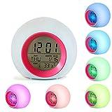 Reloj despertador LED para niños, despertador Relojes digitales Junto a la cama...