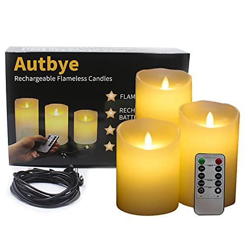 Velas eléctricas sin llama con batería recargable - Autbye Extra Brillante Marfil...