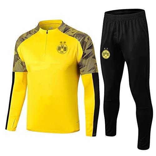 European Football Club Männer Fußball Sweatshirt Langarm Frühling und Herbst Breathable Sport Gelb Trainings-Uniform (Top + Pants) -ZQY-A0465 (Color : Yellow, Size : XL)
